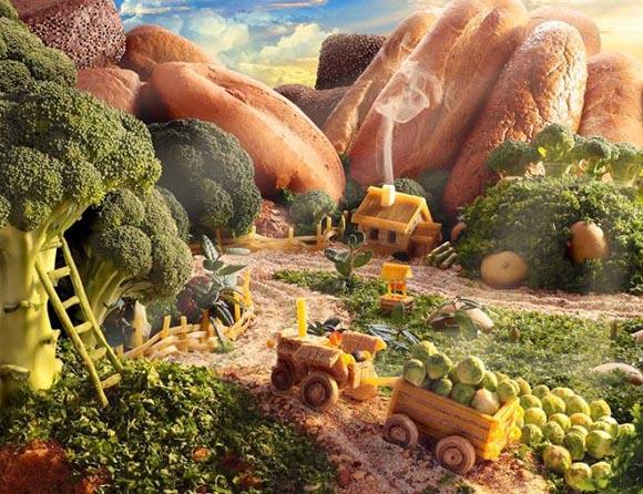 increibles paisajes hechos con comida